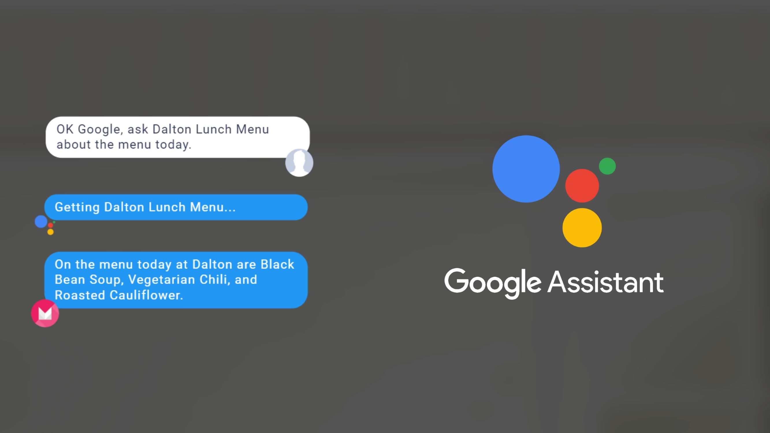 Dalton Lunch Menu Google Assistant skill in action